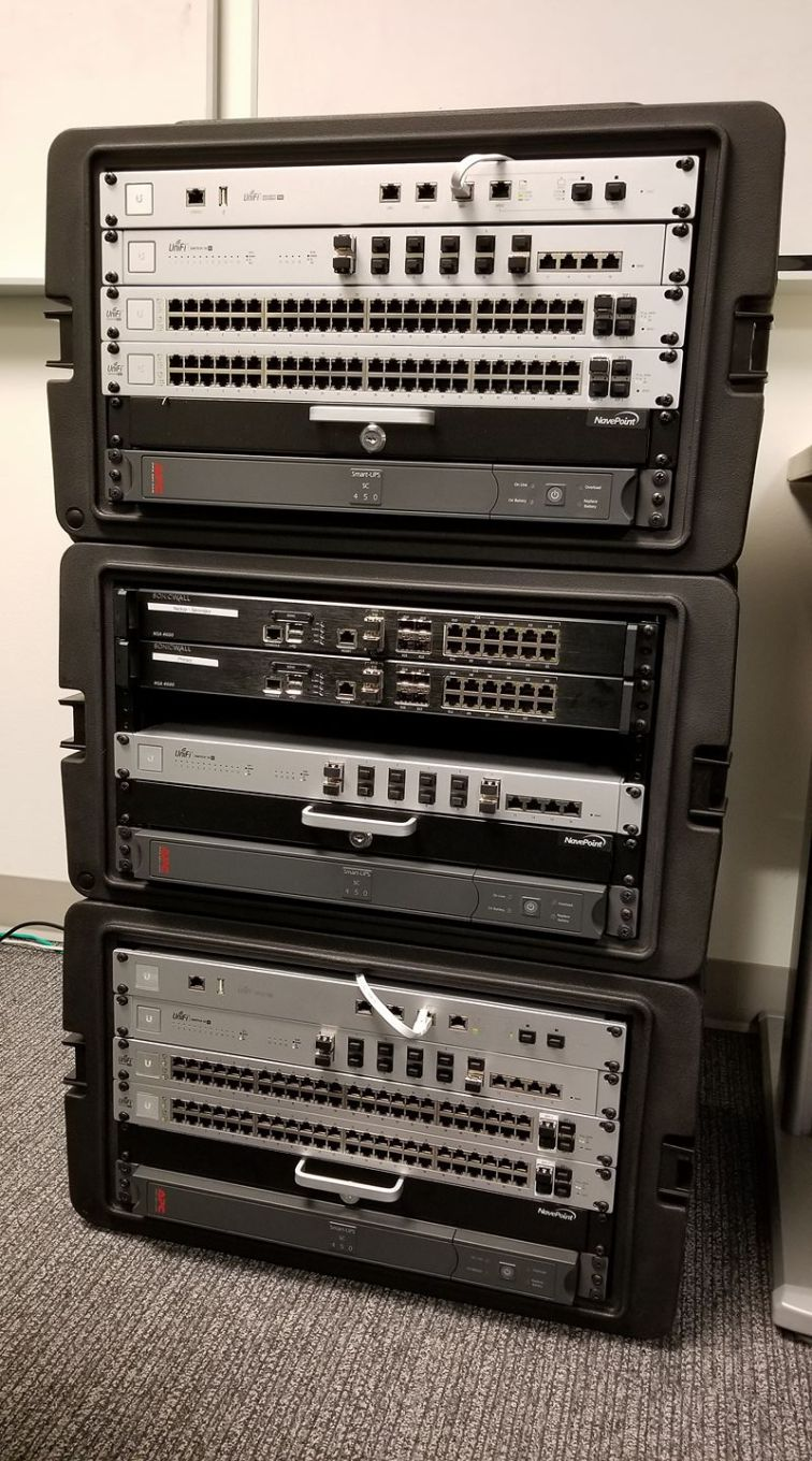 Core infrastructure from a couple years ago. We've since replaced the SonicWall devices with UniFi XG Routers, and replaced the UniFi Gateways with extra UniFi XG Switches.